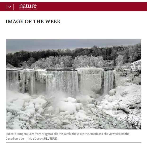ナイアガラの滝も凍る