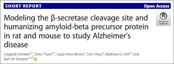 Modeling the beta-secretase cleavage site and humanizing aAPP protein in rat and mouse to study AD