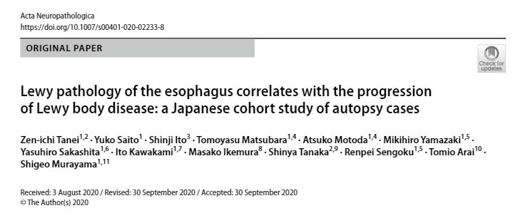 Lewy Pathology of the esophagus correlates with the progression of Lewy body disease: a Japanese cohort study of autopsy cases