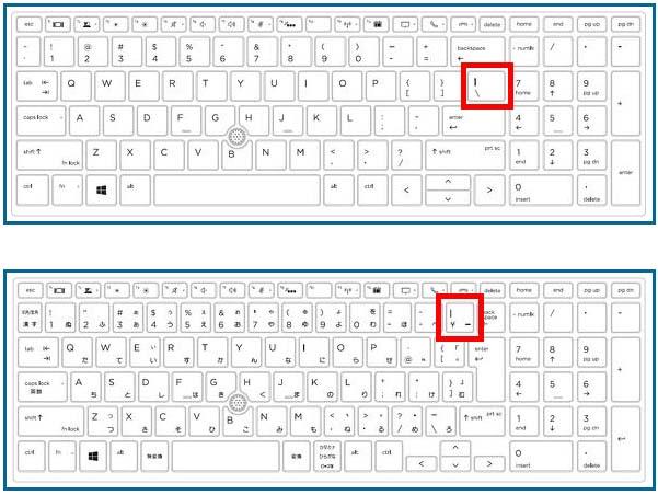 英語配列と日本語配列のキーボード