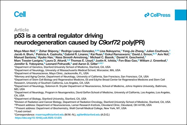 p53 is a central regulator driving neurodegeneration caused by C9orf72 poly(PR) title