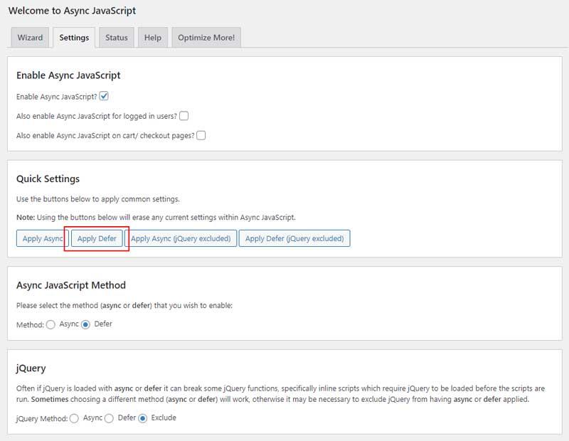 Async JavaScript の設定: Apply Defer